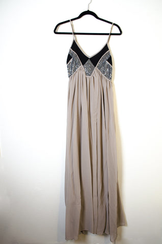 Lulu's Maxi Dress with Color Block and Sequin Detail - Size M