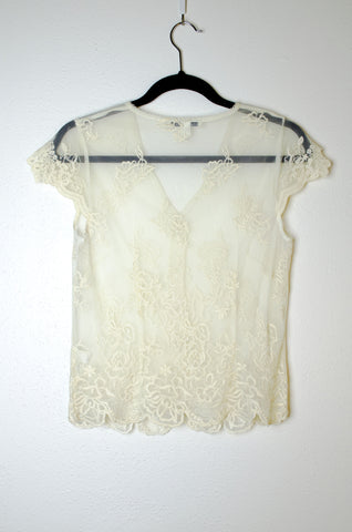 Sheer Lace Blouse with Cap Sleeves - Size S