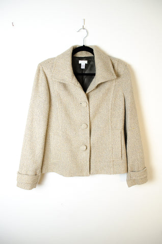 Chico's Gold Tweed Collared  Jacket - Size XL