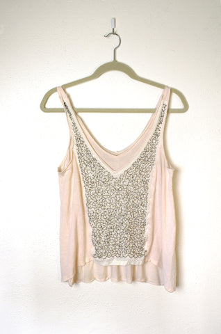 Metal Sequin Embellished Layered Jersey Tank - Size S