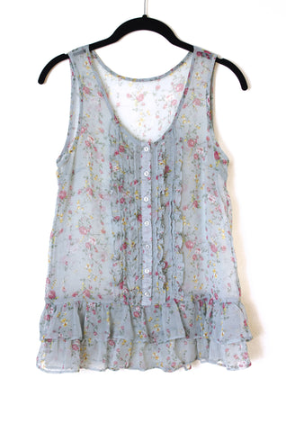 Sheer Floral Sleeveless Bouse with Lots of Ruffles - Size M