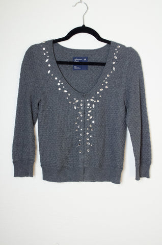 American Eagle Outfitter Cropped Knit Jeweled Cardigan - Size S