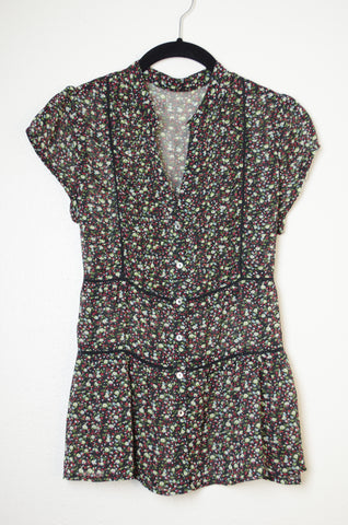Lace and Floral Button Down Blouse - Size XS/S