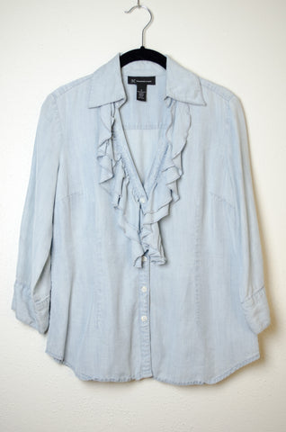 I.N.C. Collared Ruffle Blouse - Size 6