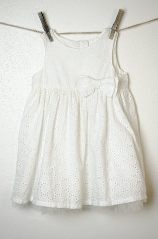 Cotton Eyelet Sundress with Tulle Ruffle - Size 12-18mo.