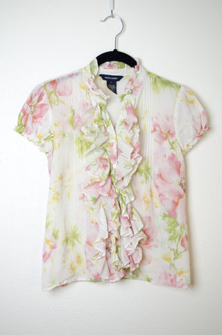 Ralph Lauren Ruffled Cap Sleeve Blouse - Size 12