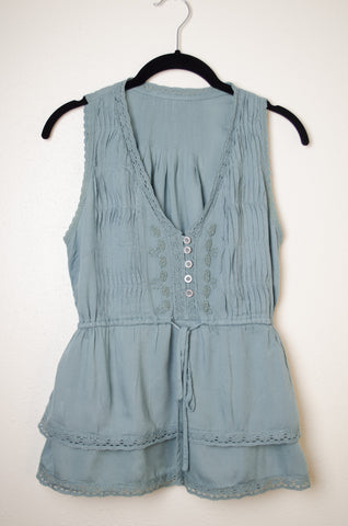 Beaded Sleeveless Blouse with Waist Tie - Size S