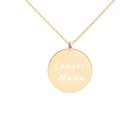 Lawyer Mama Engraved Silver Disc Necklace