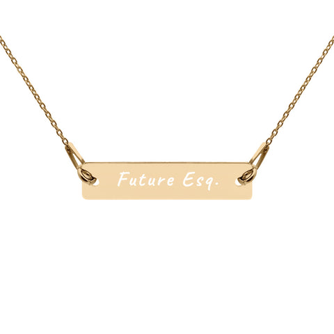 Future Esq. Engraved Silver Bar Chain Necklace
