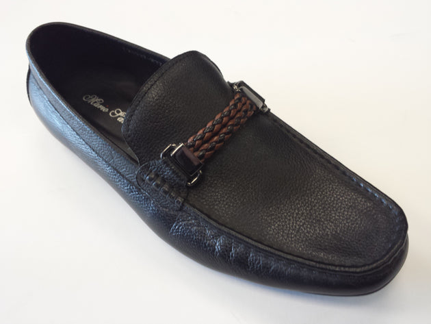 Designer mario Samello men's black leather loafers 1337-37