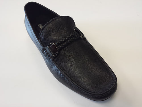 Designer Mario Samello men's black grainy leather loafer shoes style # 1337-W37-1