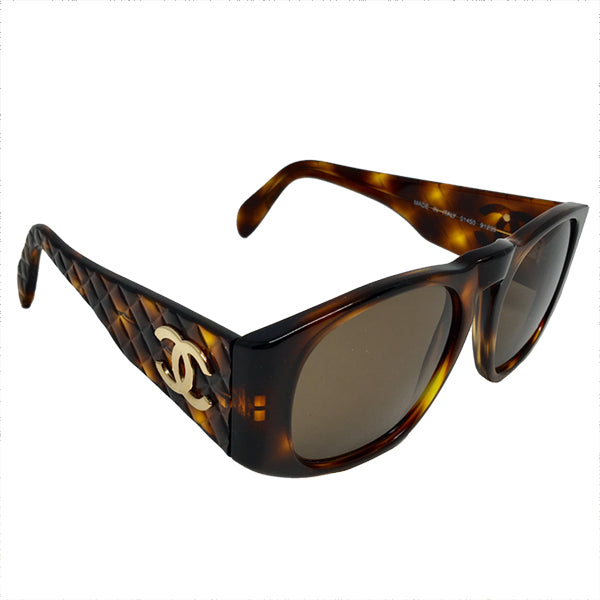4e04f6f07029 Chanel sun glasses · CHANEL tortoise shell sunglasses with CC logo on quilted  arms ...