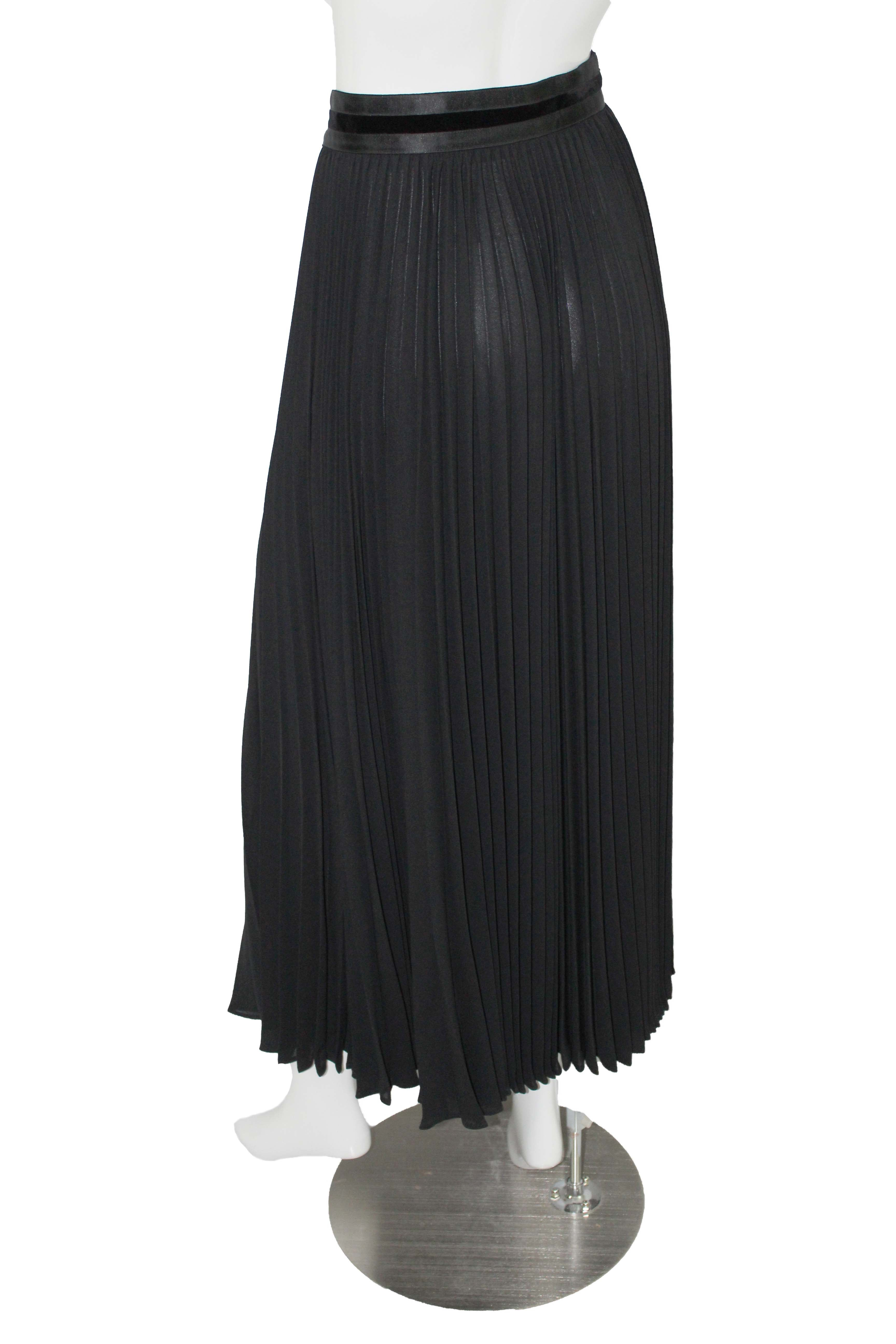 43006c92b0 Escada Couture stunning vintage black crepe + velvet pleated long maxi skirt
