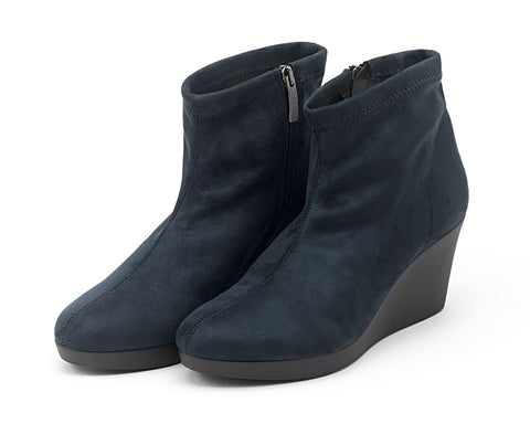 Paula Ryan blue Milano boot in suded microfibre, $395.