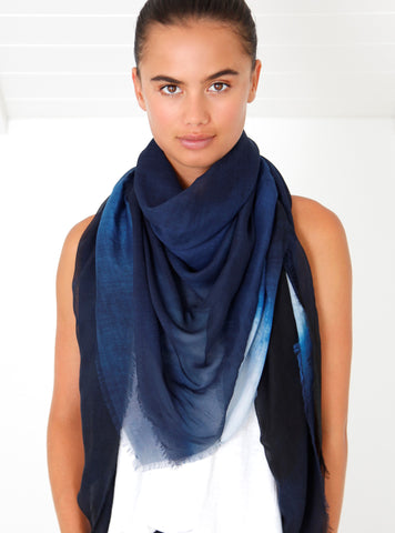 Bird and Knoll Shades of Navy scarf, $250.