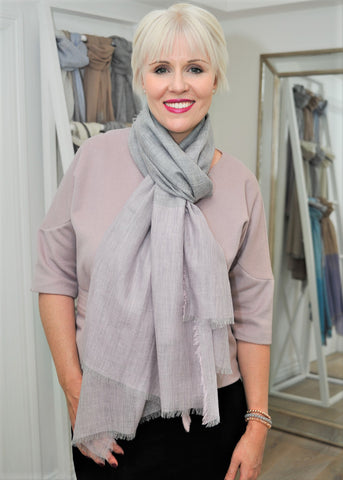 Bridget wears the Luxury Cashmere Company scarf in a slip knot