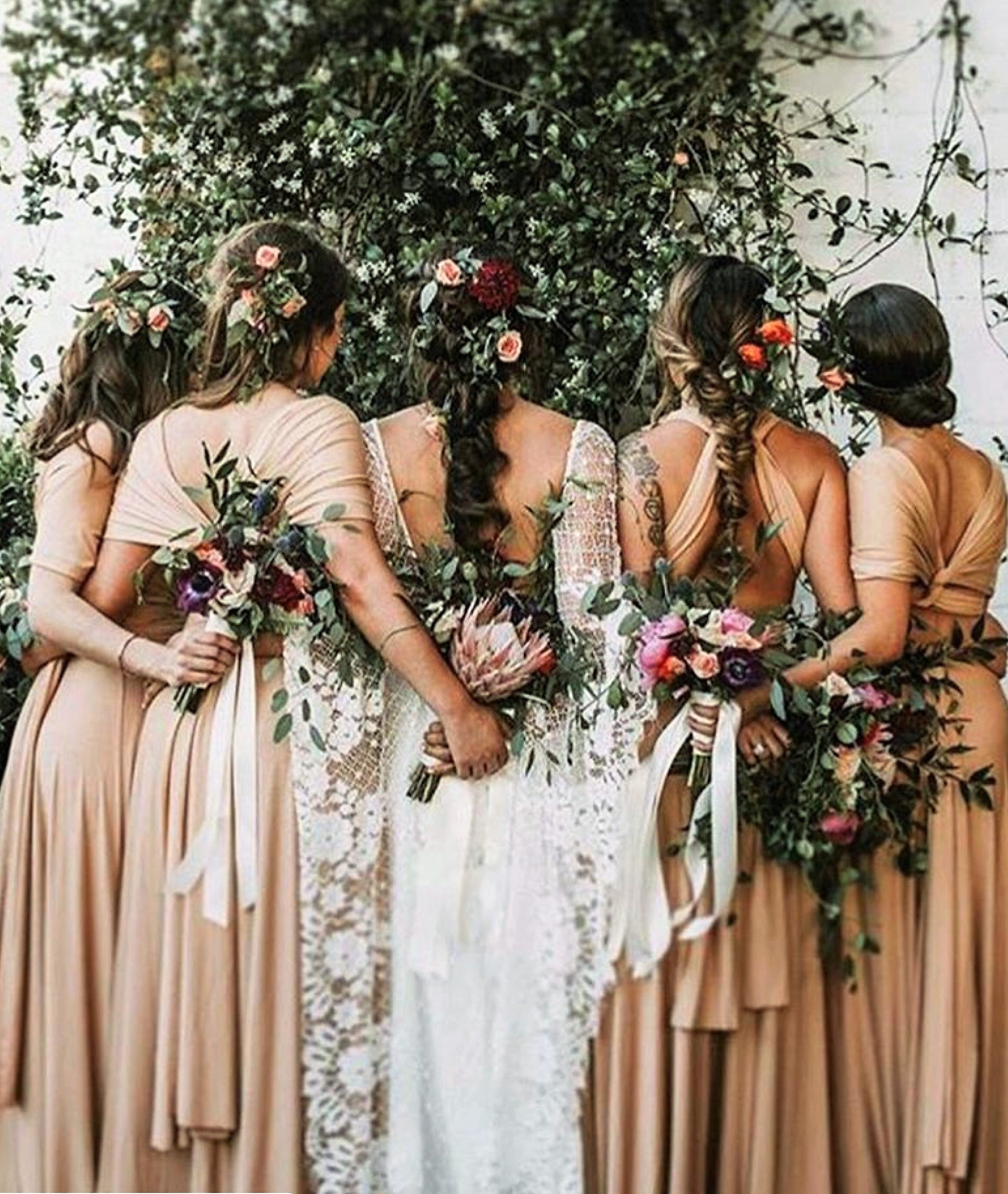 The art of dressing for weddings magpie style bridesmaids with the same fabric and an open or tight brief to have a dress made in their preferred style or seeing different dresses made is ombrellifo Images