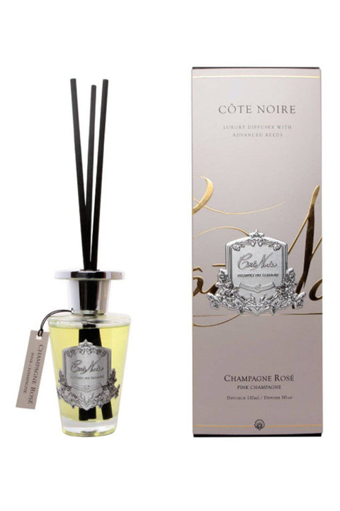 COTE NOIRE Pink Champagne - 150ml Silver Diffuser Set - Magpie Style