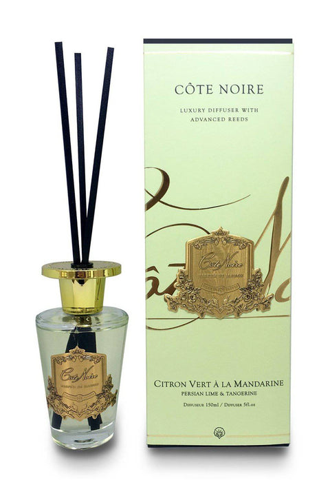 COTE NOIRE Persian Lime & Tangerine - 150ml Gold Diffuser Set - Magpie Style