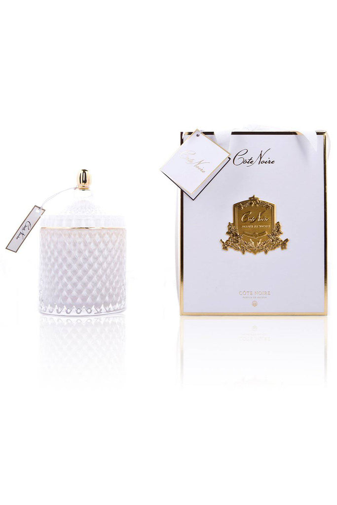 COTE NOIRE Grand White Art Deco Candle - Magpie Style
