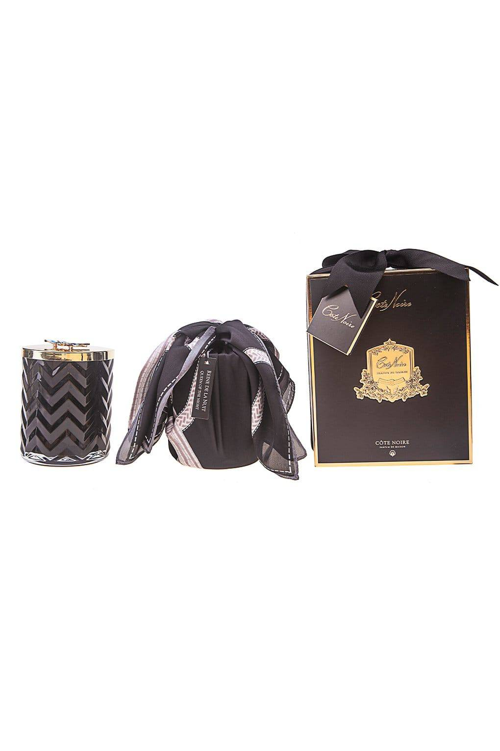 COTE NOIRE Black Herringbone Candle with Scarf - Golden & Red Bee Lid - Queen Of The Night - Cote Noire - [product type] - Magpie Style
