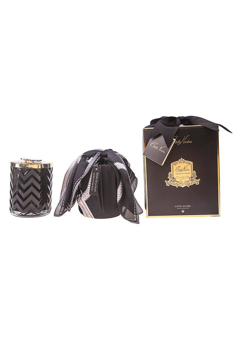 COTE NOIRE Black Herringbone Candle with Scarf - Golden & Red Bee Lid - Queen Of The Night - Magpie Style