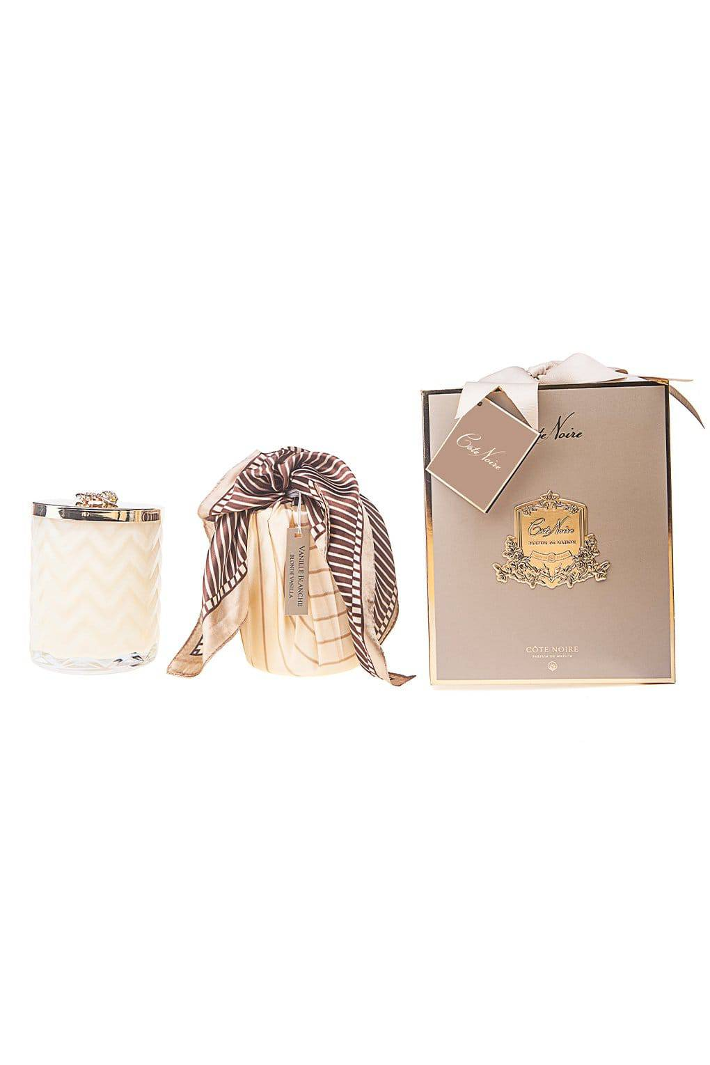 COTE NOIRE Cream Herringbone Candle with Scarf - Golden Bee lid - Blond Vanilla - Magpie Style