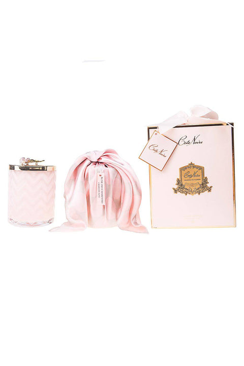 COTE NOIRE Pink Herringbone Candle with Scarf - Golden Rose lid - Charente Rose - Magpie Style