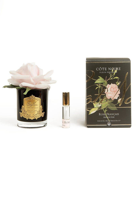 COTE NOIRE Perfumed Pink French Rose - Black and Gold Glass - Magpie Style