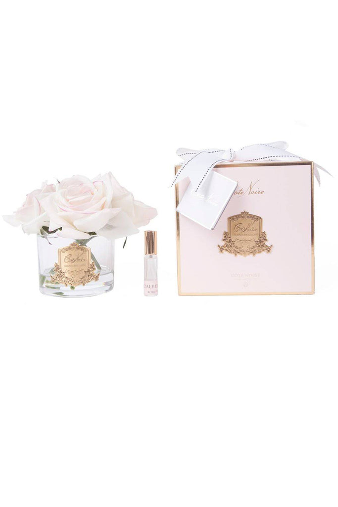 COTE NOIRE Five Perfumed Blush Roses - Clear and Gold Glass - Magpie Style
