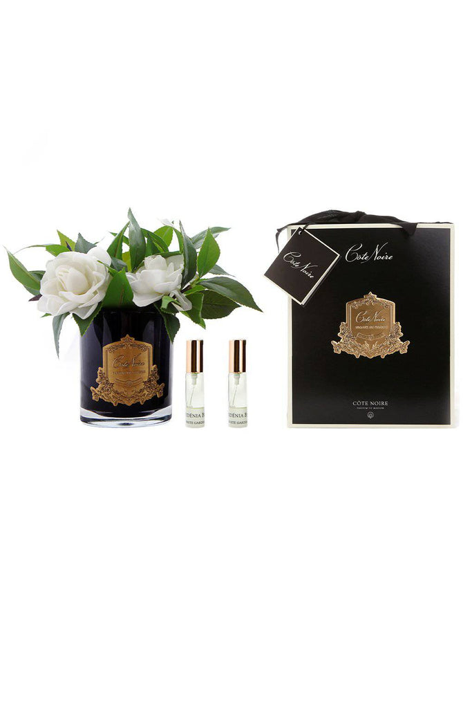 COTE NOIRE Perfumed Gardenias - Black and Gold Glass - Magpie Style