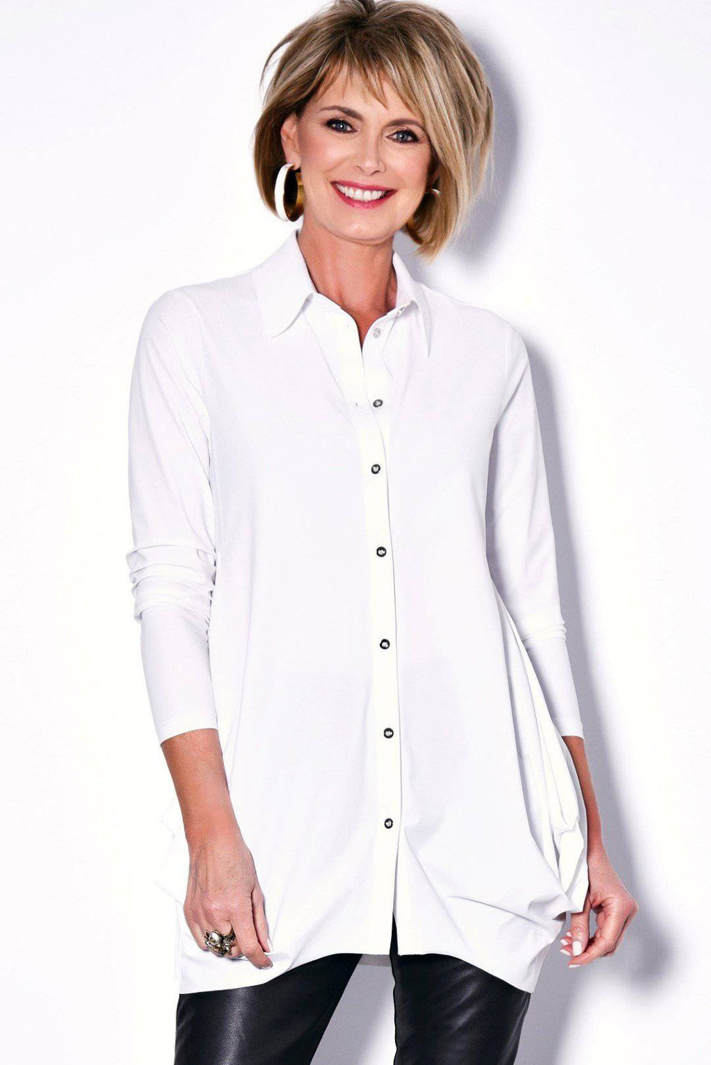 PAULA RYAN Hitched Front Shirt - Microjersey - Magpie Style