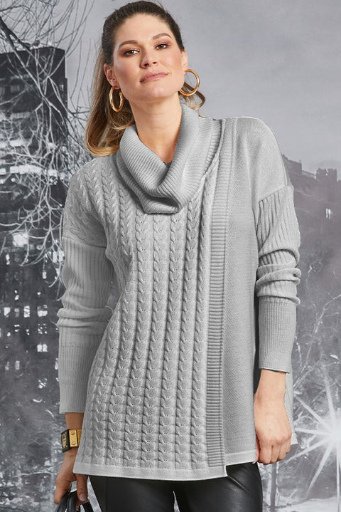 PAULA RYAN Cable Knit Sweater - Merino - Silver - Magpie Style