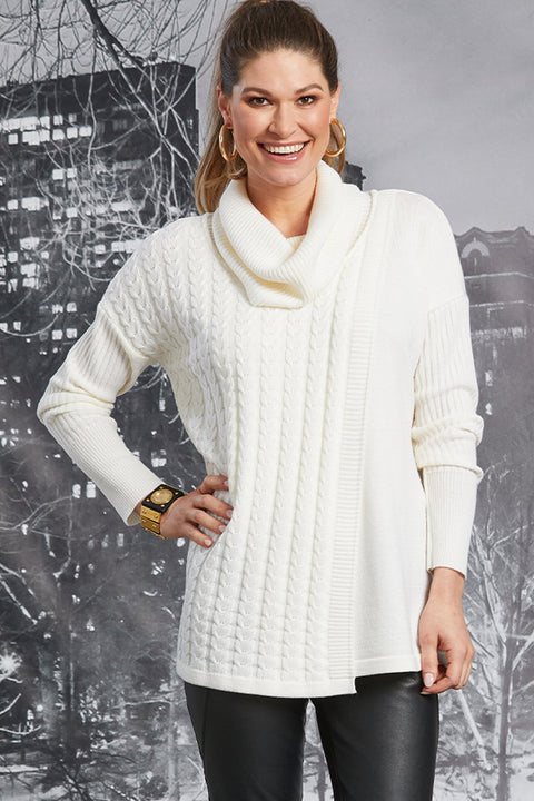PAULA RYAN Cable Knit Sweater - Merino - Winter White - Magpie Style