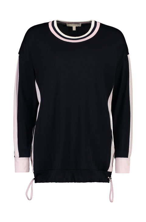 PAULA RYAN RELAXED Contrast Band Top - Ultrafine Merino - Navy/Blossom - Magpie Style