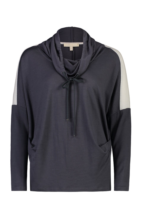 PAULA RYAN RELAXED Soft Collar Side Tuck Top - Merino - Charcoal/Chalk - Magpie Style