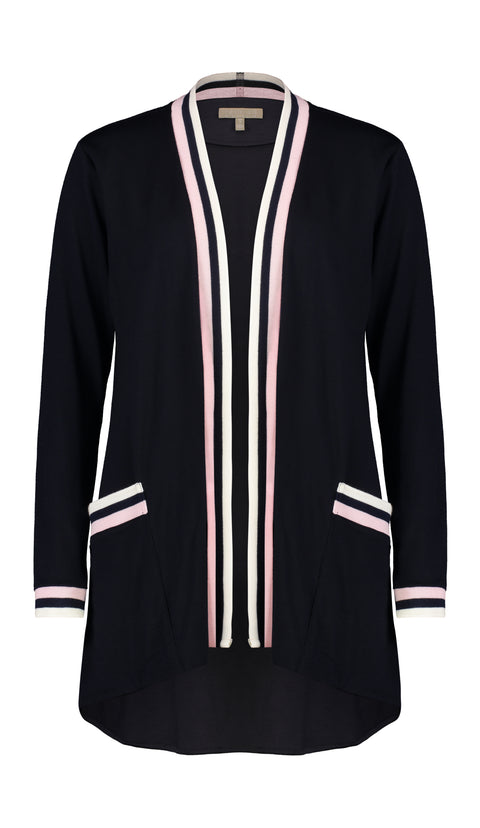 PAULA RYAN RELAXED Soft Jacket Cardigan - Ultrafine Merino - Navy/Blossom - Magpie Style