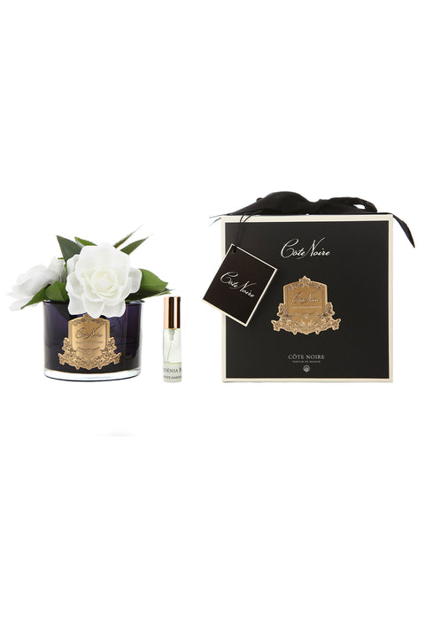COTE NOIRE Perfumed Triple Gardenia - Black and Gold Glass - Magpie Style