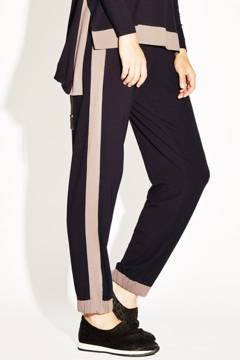 PAULA RYAN RELAXED Contrast Side Panel Slim Leg Pant - Viscose Jersey - Magpie Style