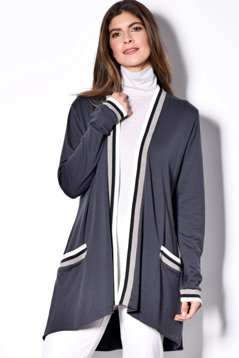 PAULA RYAN RELAXED Soft Jacket Cardigan - Ultrafine Merino - Charcoal/Chalk - Magpie Style