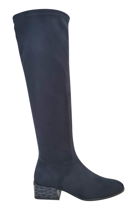PAULA RYAN Croc-print Heel Stretch Knee High Boot - Navy - Magpie Style