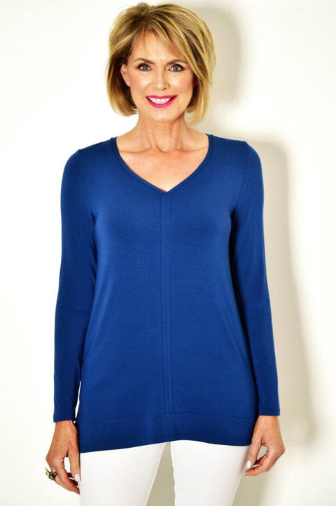 PAULA RYAN ESSENTIALS V Neck Long Sleeve Top - MicroModal - Paula Ryan Essentials - [product type] - Magpie Style