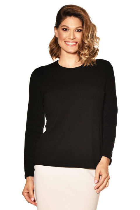 PAULA RYAN ESSENTIALS Easy Fit Long Sleeve Crew Neck Top - Merino - Paula Ryan Essentials - [product type] - Magpie Style