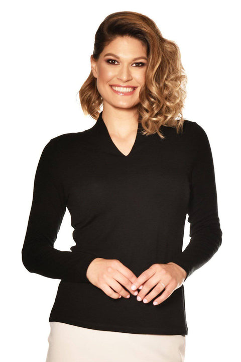 PAULA RYAN ESSENTIALS Easy Fit Long Sleeve High Neck V Top - Merino - Paula Ryan Essentials - [product type] - Magpie Style