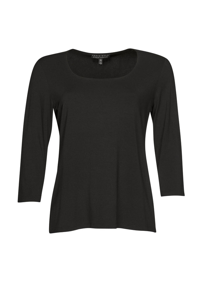 PAULA RYAN ESSENTIALS Easy Fit 3/4 Sleeve U Shape Neck Top - MicroModal - Magpie Style