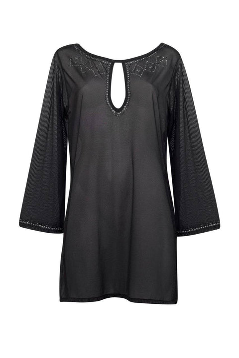 PAULA RYAN Mesh Kaftan With Hot Fix Detail - Paula Ryan Swimwear - [product type] - Magpie Style