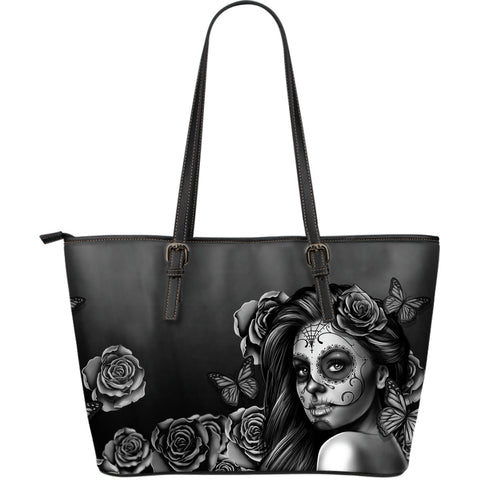 Large Leather Calavera Tote Bag