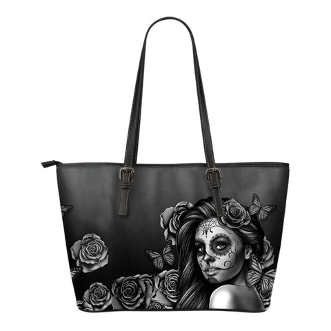 Small Leather Calavera Tote Bag