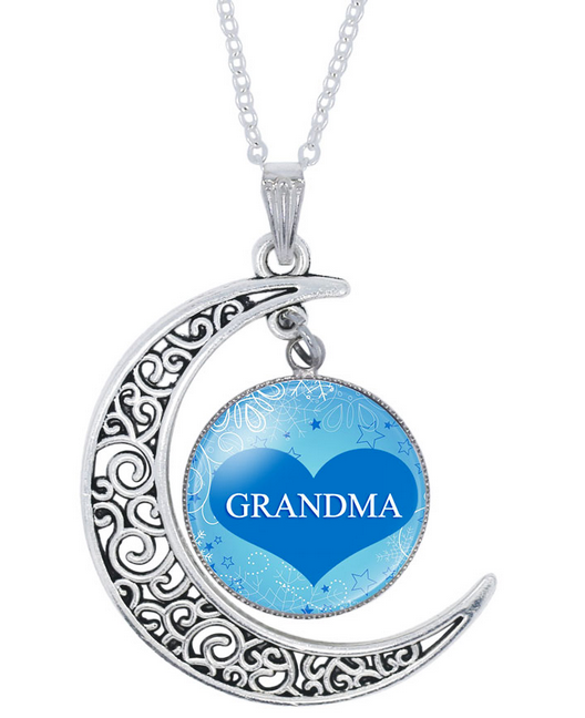 Best Grandma Glass Moon Pendant Necklace