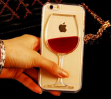 Red Wine Glass Liquid Quicksand Transparent Phone Case
